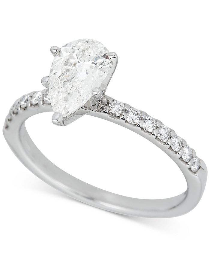 Macy's - Diamond Pear Engagement Ring (1-1/4 ct. t.w.) in 14k White Gold