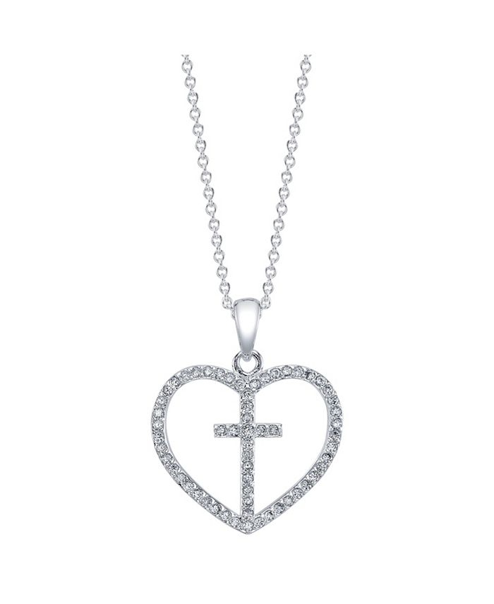 Unwritten - Fine Silver Plated Cubic Zirconia Heart and Cross Pendent Necklace