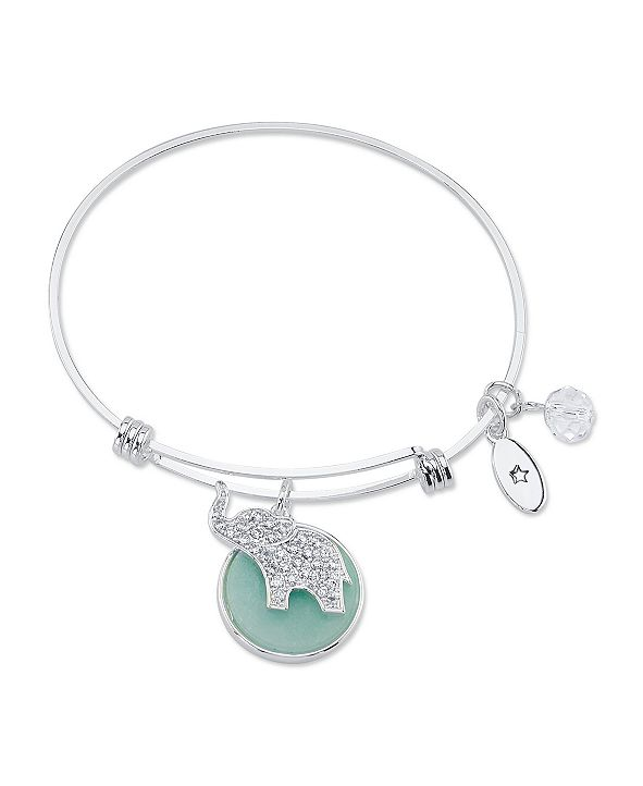 """Unwritten """"Luck"""" Crystal Elephant and Genuine Amazonite Adjustable Bangle Bracelet in Stainless Steel with Silver Plated Charms"""