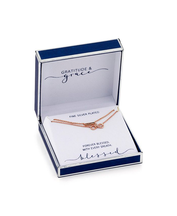 Unwritten - Rose Gold Flash Plated Cubic Zirconia Infinity and Bar Layer Pendant Necklace