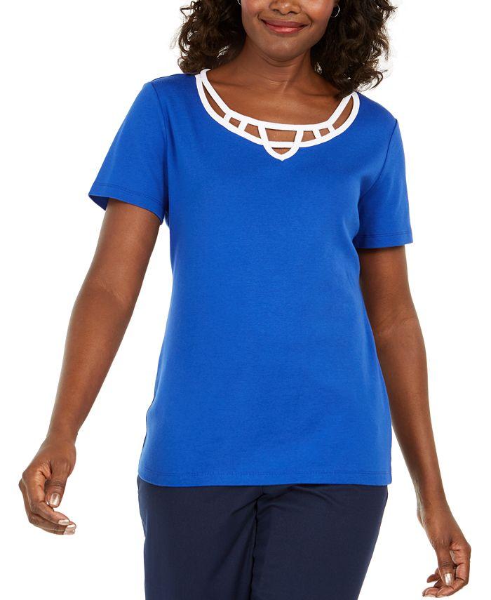 Karen Scott - Plus Size Cotton Caged-Neck Top