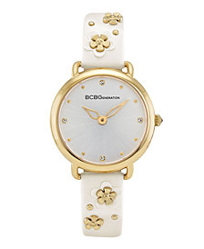 BCBGeneration Ladies 3 Hands Slim White Synthetic Leather Strap Watch, 34 mm Case