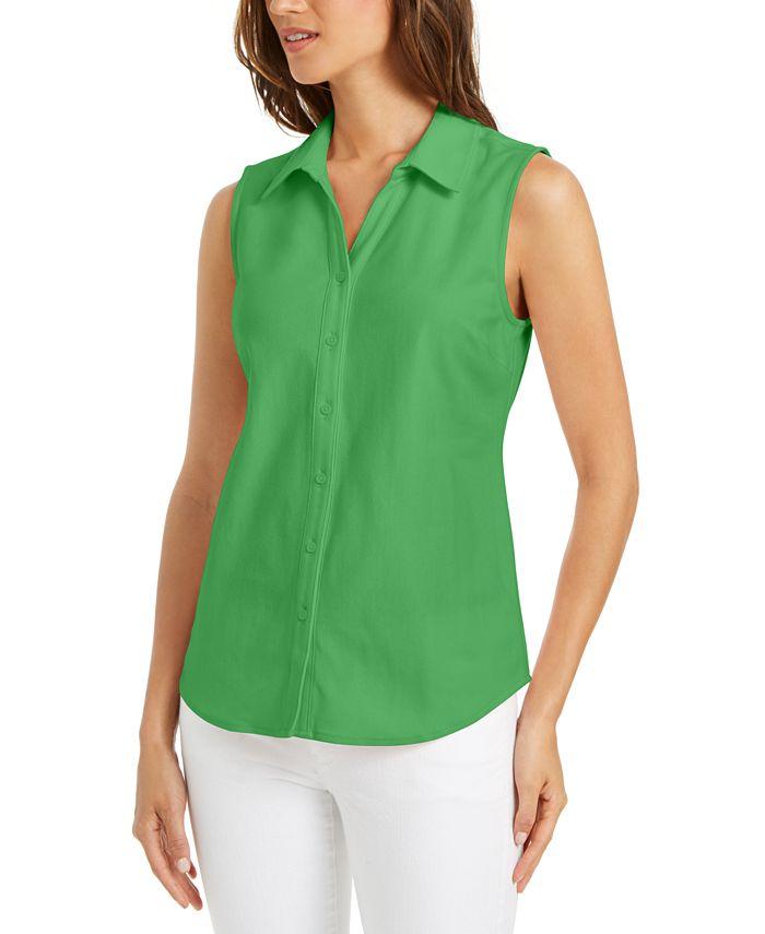 Charter Club - Cotton Pique Sleeveless Shirt