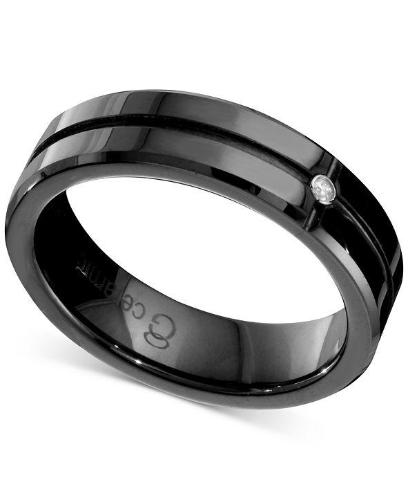 Macy's Men's Diamond Accent Band in Black Ceramic
