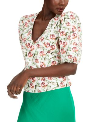 INC Floral Puff-Sleeve Wrap Top, Created for Macy