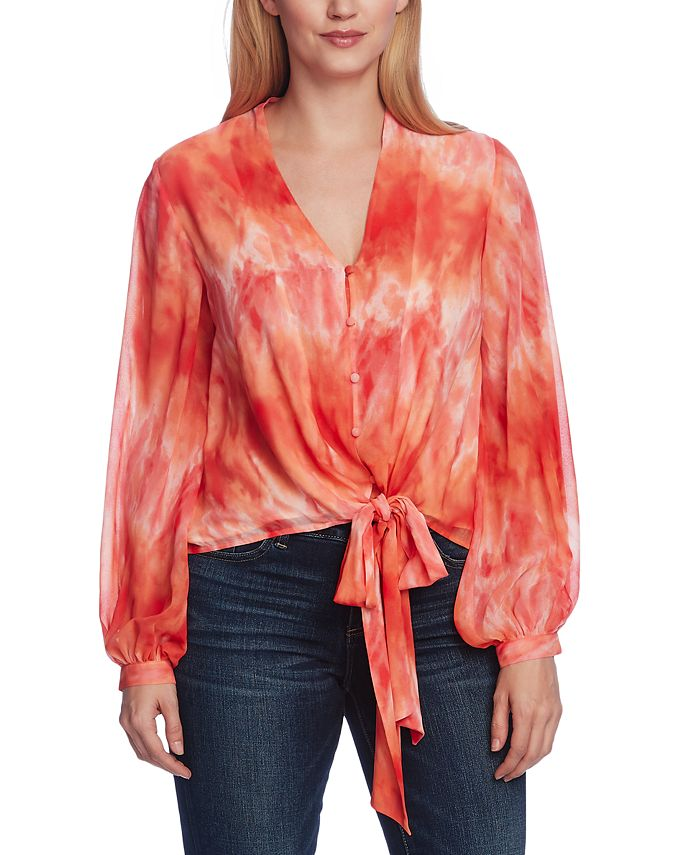 Vince Camuto - Printed Tie-Waist Blouse