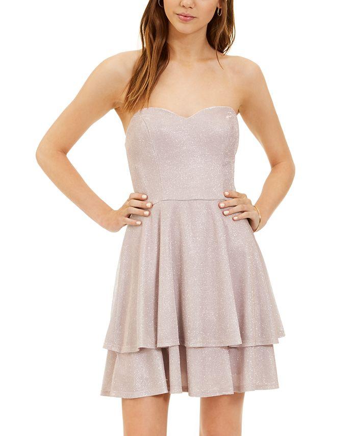 B Darlin - Juniors' Glitter-Knit Strapless Fit & Flare Dress