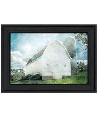 White Barn by Bluebird Barn, Ready to hang Framed Print, Black Frame, 19