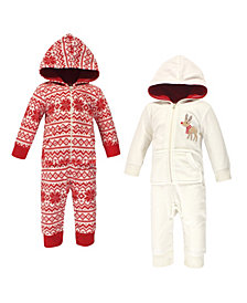 Hudson Baby Baby Girls and Boys Reindeer Fleece Coveralls and Playsuits Jumpsuits, Pack of 2