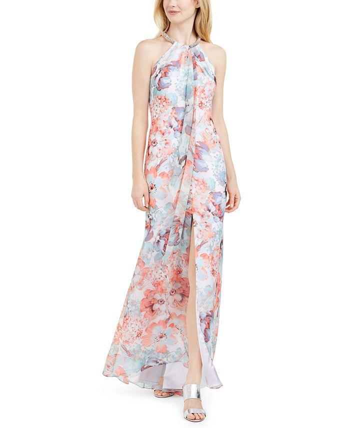 Calvin Klein - Printed Draped Halter Gown