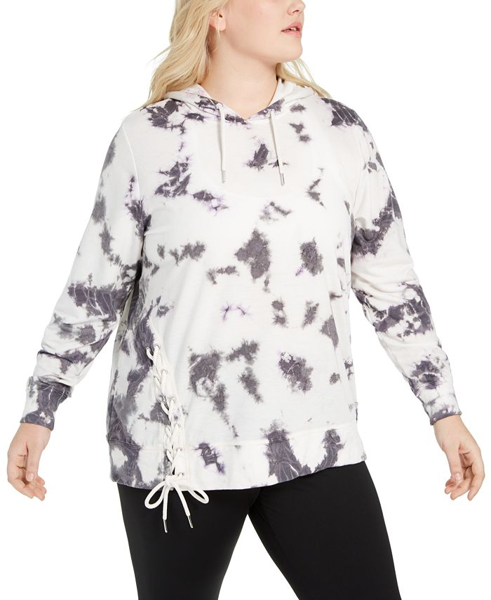 Ideology - Plus Size Tie-Dyed Side-Lace Hoodie