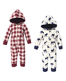 Little Treasure Baby Girls and Boys Moose Fleece Jumpsuits and Coveralls, Pack of 2