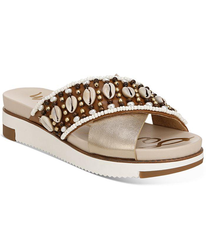 Sam Edelman - Women's Austen Seashell Crossband Flat Sandals