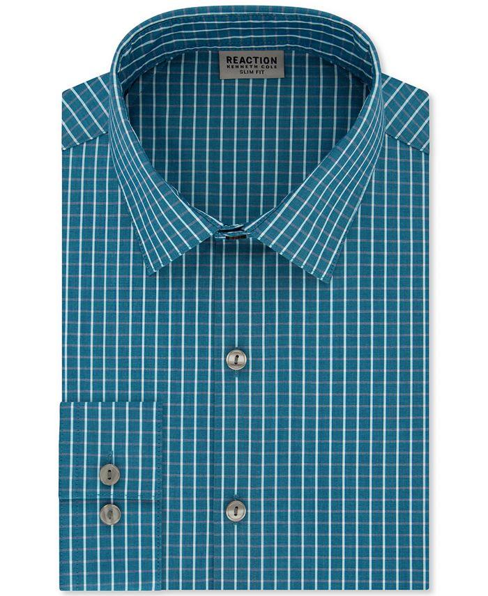 Kenneth Cole Reaction - Men's Slim-Fit All Day Flex Performance Stretch Deep Blue Check Dress Shirt