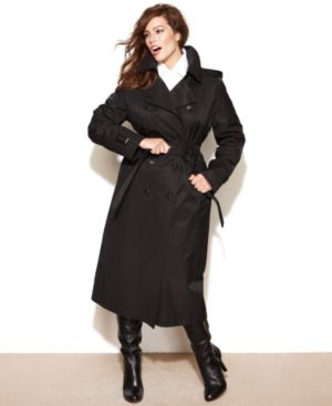 DKNY Plus Size Coat, Hooded Long Trench Coat