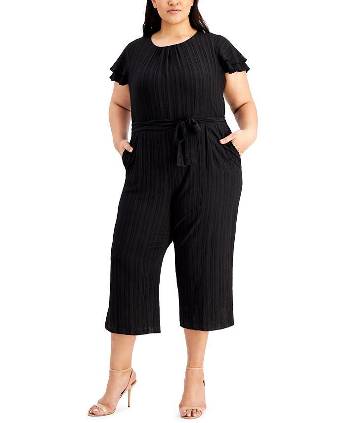 Calvin Klein - Plus Size Flutter-Sleeve Textured Cropped Jumpsuit