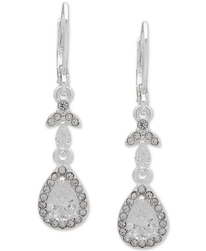 Anne Klein - Silver-Tone Crystal Teardrop Drop Earrings