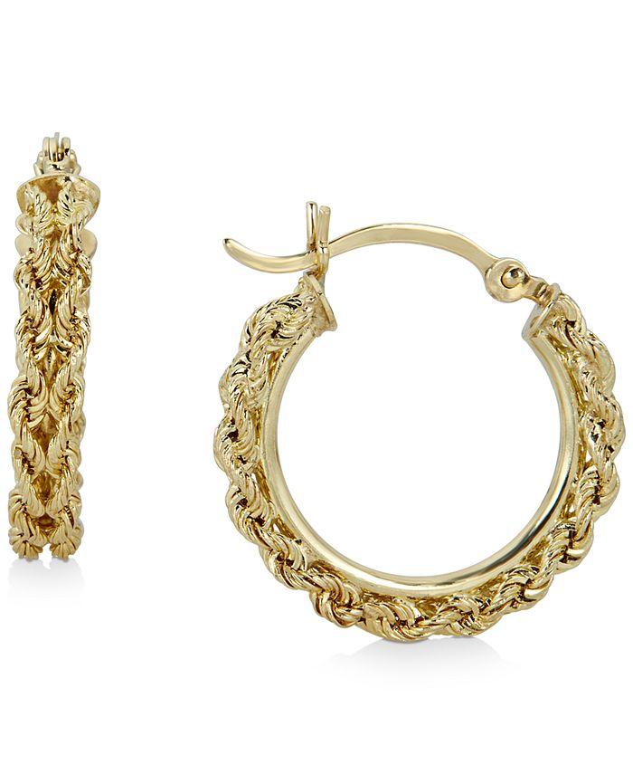 Macy's - Heart Rope Chain Hoop Earrings in 14k Gold
