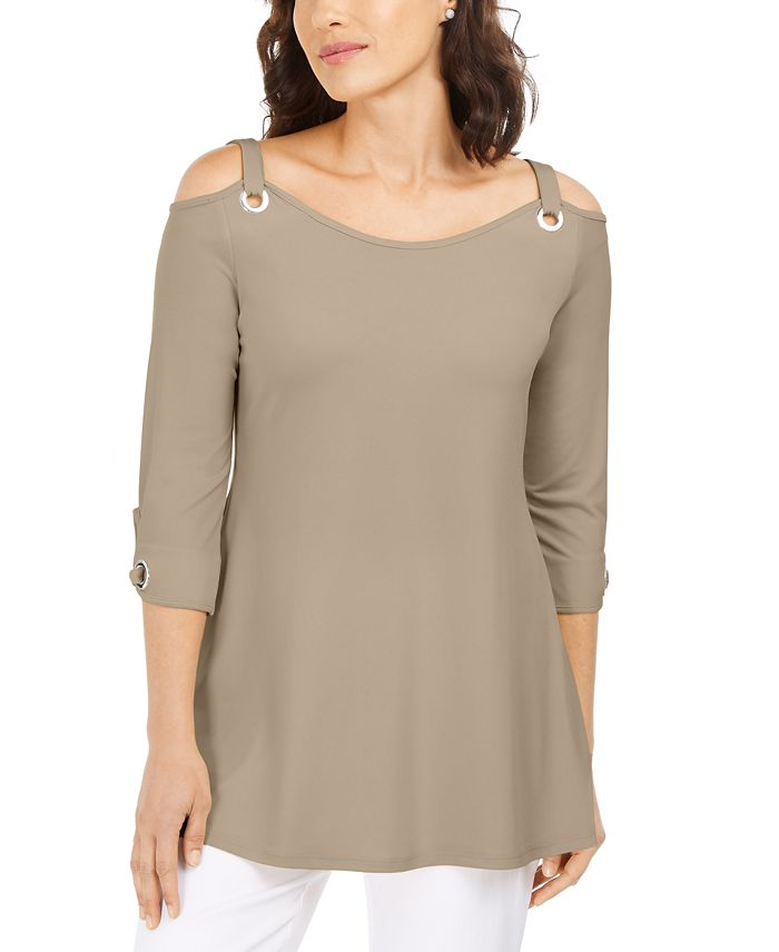 Jm Collection Grommet Cold Shoulder Tunic Created For Macy S Reviews Tops Women Macy S