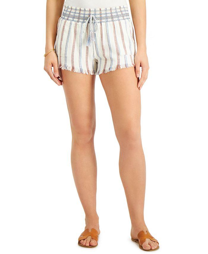 Rewash - Juniors' Stripe Smocked Shorts