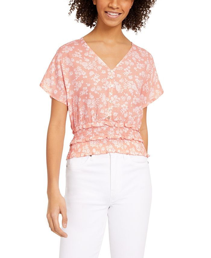 Planet Gold - Juniors' Floral-Print Smocked-Waist Top