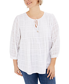 Tommy Hilfiger Plus Size Pintuck Gauze Plaid Top, Created for Macy's
