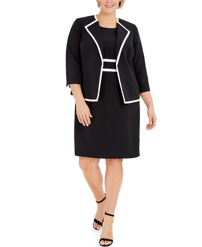 Le Suit - Plus Size Colorblocked Wing-Collar Jacket and Dress Suit