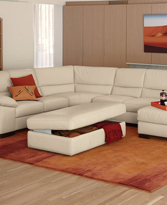 Spencer Leather Sectional Living Room Furniture Collection Furniture Macy 39 S