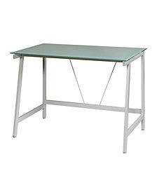 OneSpace Contemporary Glass Writing Desk, Steel Frame