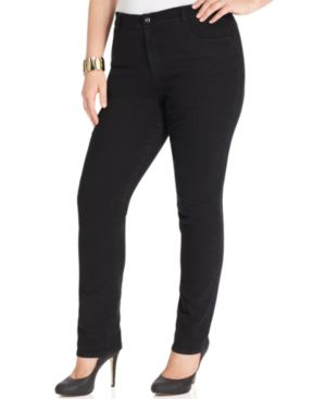 Style & Co. Plus Size Tummy Control Slim-Leg Jeans, Noir Wash