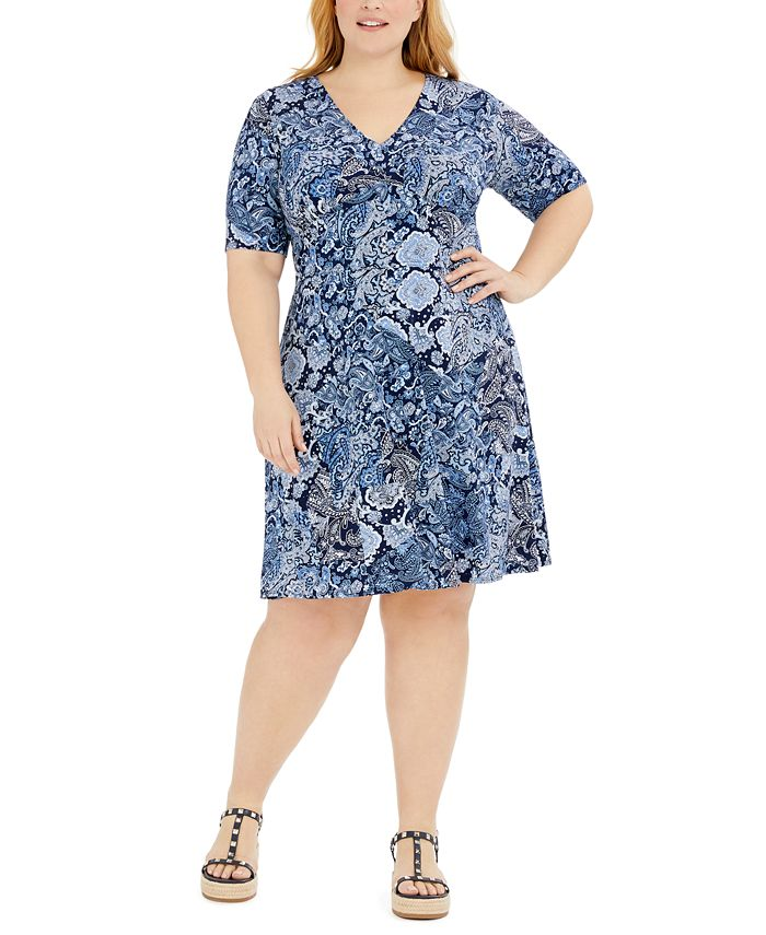 Michael Kors - Plus Size Paisley-Print Dress