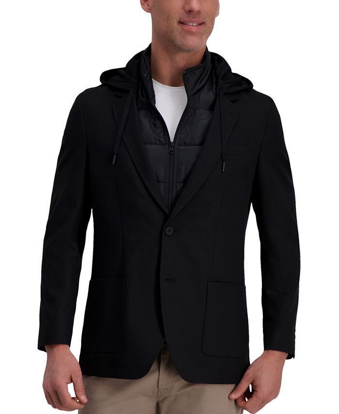 Haggar - Men's The Active Series Slim-Fit Stretch Commuter Blazer with Zip-Out Puffer Jacket