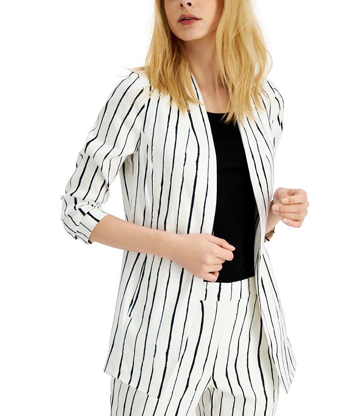 Alfani - Striped Open-Front Blazer
