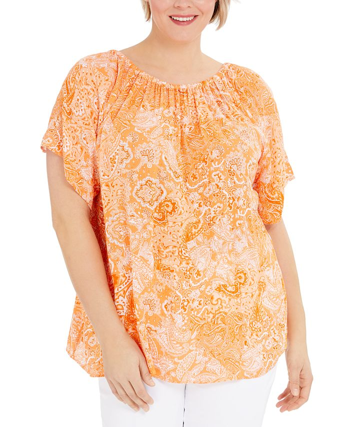 Michael Kors - Plus Size Paisley Peasant Top