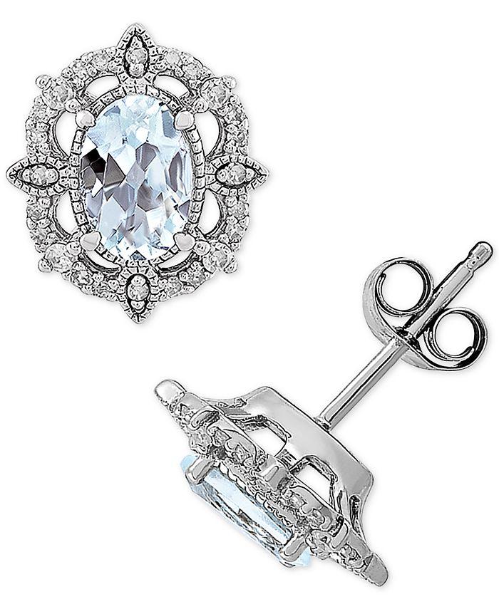 Macy's - Aquamarine (3/4 ct. t.w.) & Diamond (1/8 ct. t.w.) Stud Earrings in 14k White Gold