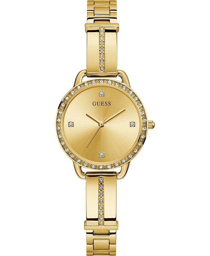 GUESS - Women's Gold-Tone Stainless Steel Semi-Bangle Bracelet Watch 30mm
