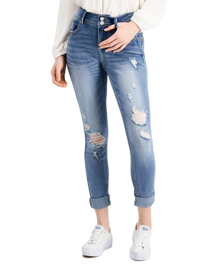Indigo Rein - Ripped Cuffed Skinny Jeans