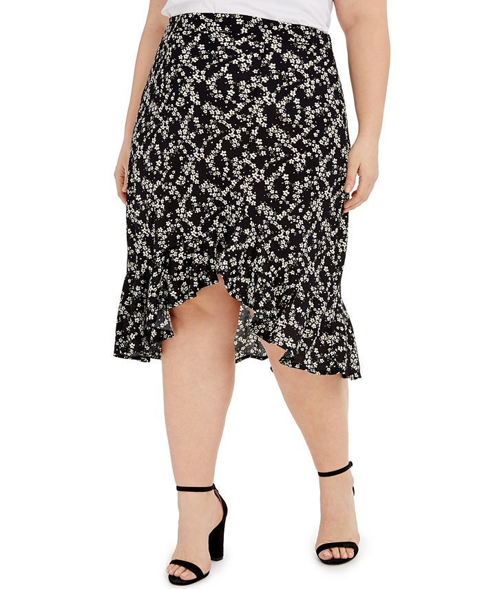 FULL CIRCLE TRENDS - Trendy Plus Size Printed Flounce Skirt