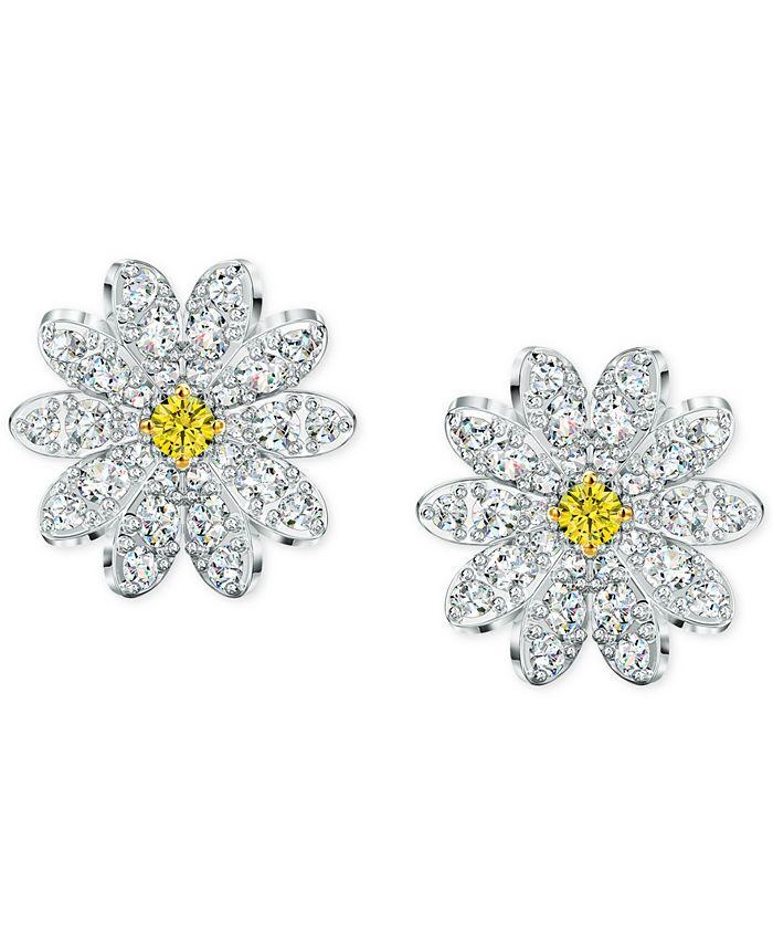 Swarovski - Silver-Tone Eternal Flower Stud Earrings