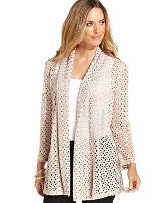 Jm Collection Petite Cardigan Long Sleeve Crochet Lace