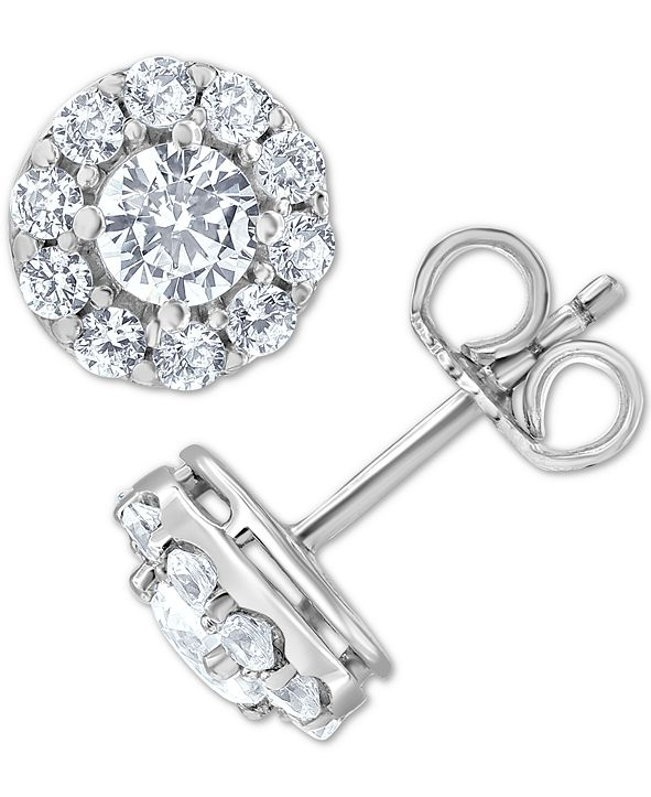 Macy's Diamond Halo Stud Earrings (1 ct. t.w.) in 14k White Gold