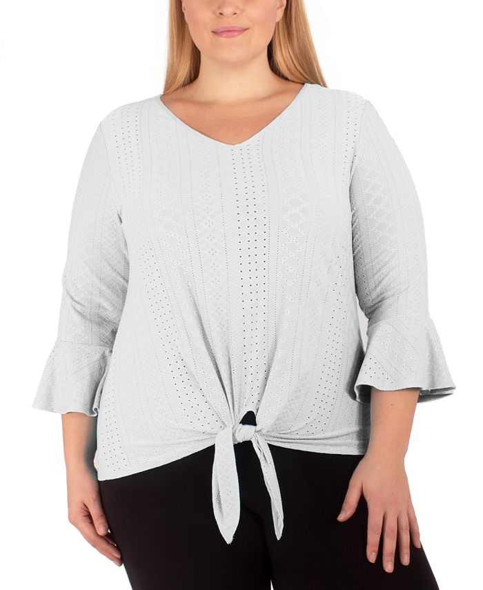 NY Collection - Plus Size Tie-Hem Bell-Sleeve Top