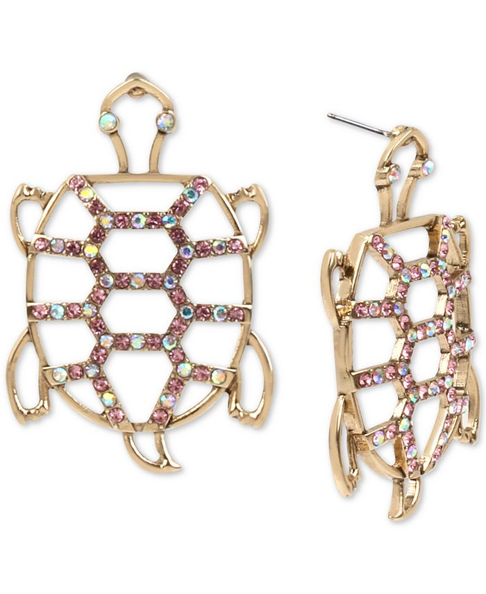 Betsey Johnson - Gold-Tone Pavé Openwork Turtle Drop Earrings