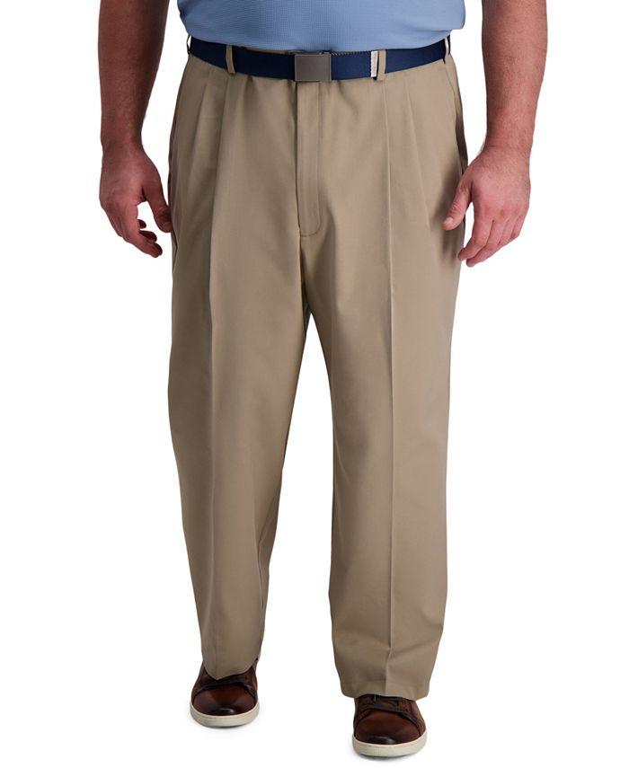 Haggar - Men's Big & Tall Classic-Fit Cool Right Performance Flex Pleated Solid Dress Pants