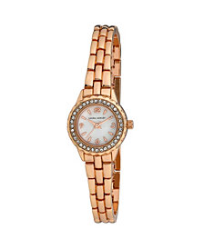 Laura Ashley Women's Mini Link Crystal Bezel Pink Alloy Bracelet Watch 26mm