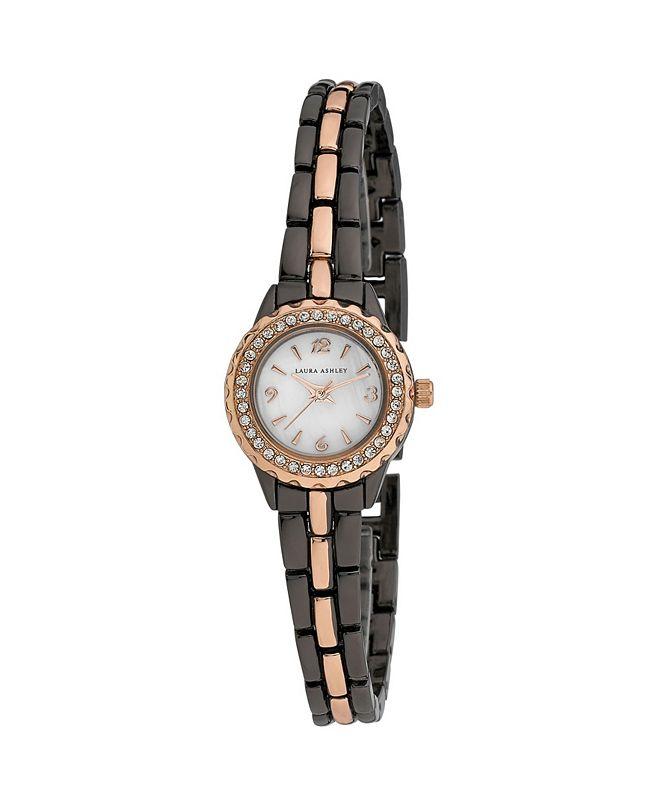 Laura Ashley Women's Mini Link Crystal Bezel Charcoal Alloy Bracelet Watch 26mm