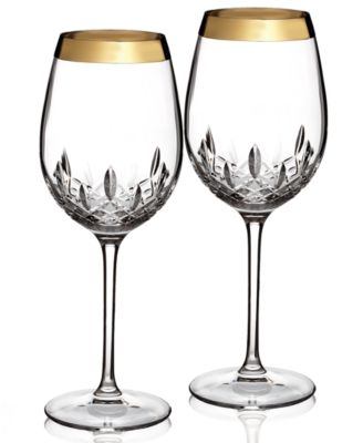 Waterford Stemware, Lismore Essence Wide Gold Goblet Pair