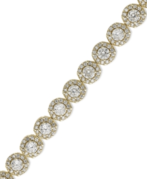 B. Brilliant - 18k Gold over Sterling Silver Bracelet, Cubic Zirconia Halo 7.25 inch Bracelet (8-5/8 ct. t.w.)
