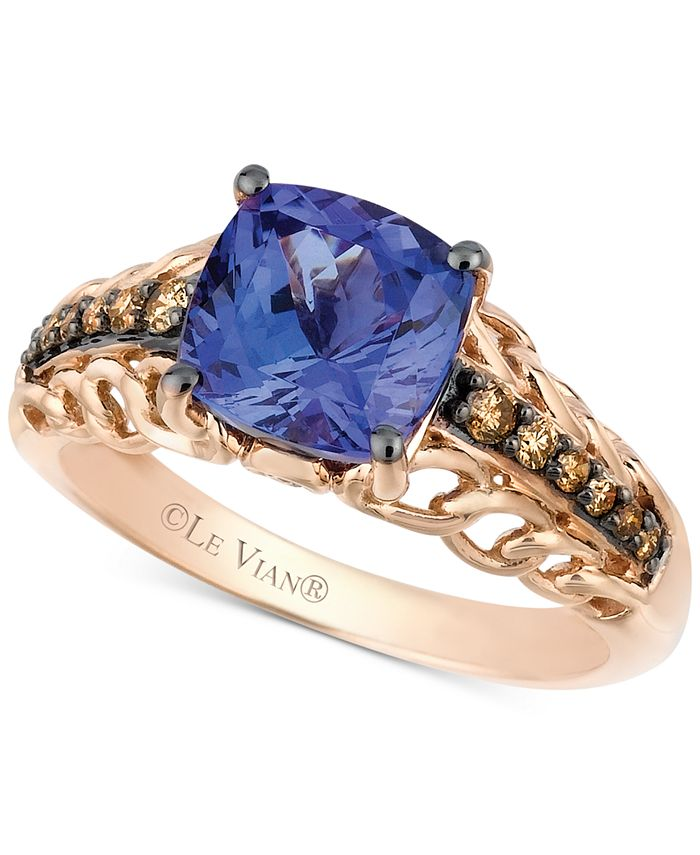 Le Vian - Tanzanite (2 ct. t.w.) and Chocolate Diamond (1/5 ct. t.w.) Accent Ring in 14k Rose Gold