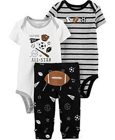 Carter's Baby Boys 3-Pc. Football Cotton Bodysuits & Pants Set